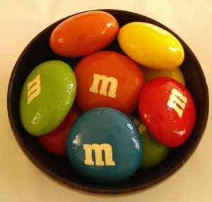 bowl of personalized painted rocks to look like giant candy. Great for home decor or your garden