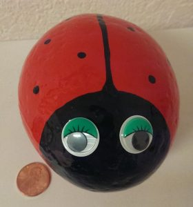 Large ladybug painted rock for home decor or your garden