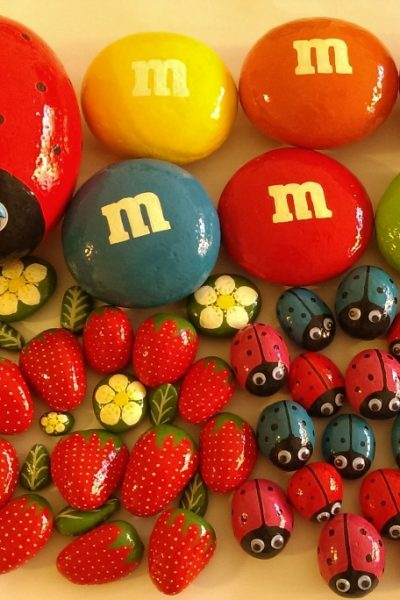 Painted rocks, strawberries, ladybugs and M&M's for home decor