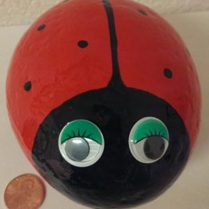 painted ladybug rock for your home decor or garden