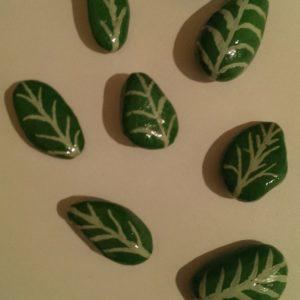 Strawberry leaf painted rocks