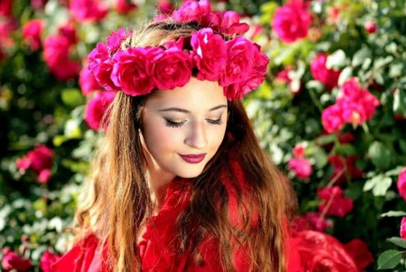 beautiful lady with flowers in her hair