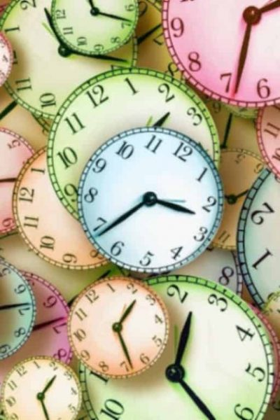 busy colorful clocks