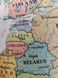 colorful map of eastern europe including Latvia and Lithuania